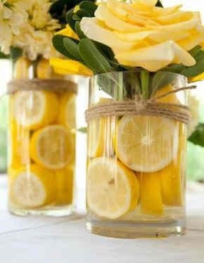 centro de mesa bodas limones