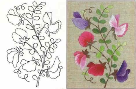 imagenes de flores para bordar colores